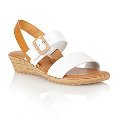 Lotus - White tan leather 'Banos' open toe sandals