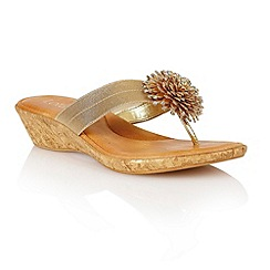 Lotus - Gold elastic 'Althea' toe post sandals