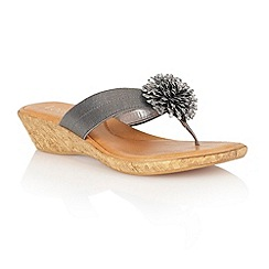 Lotus - Pewter elastic 'Althea' toe post sandals