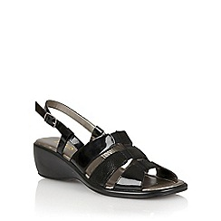 Lotus - Black patent leather print 'Lantic' open toe sandals