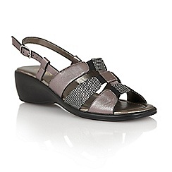 Lotus - Pewter leather print 'Lantic' open toe sandals