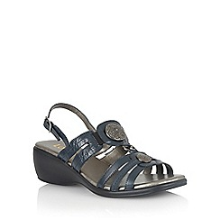 Lotus - Navy leather 'Berty' open toe sandals