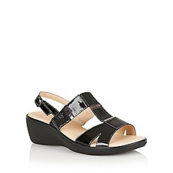 Lotus - Black patent leather print 'Jenga' open toe sandals