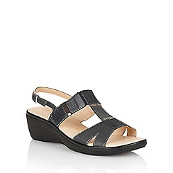 Lotus - Navy leather print 'Jenga' open toe sandals