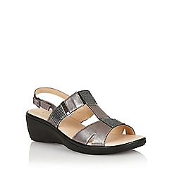 Lotus - Pewter leather print 'Jenga' open toe sandals