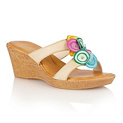Lotus - Natural multi brights leather 'Eustacia' wedge sandals