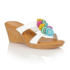 Lotus - White multi brights leather 'Eustacia' wedge sandals