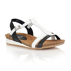 Lotus - Black white leather 'Lindos' open toe sandals