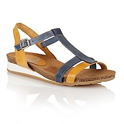 Lotus - Yellow blue leather 'Lindos' open toe sandals