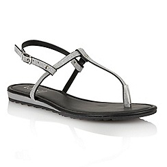 Lotus - Black glitter 'Samos' toe post sandals