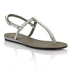 Lotus - Silver glitter 'Samos' toe post sandals