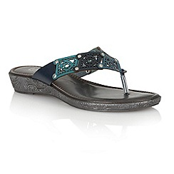 Lotus - Blue multi 'Scorch' toe post sandals