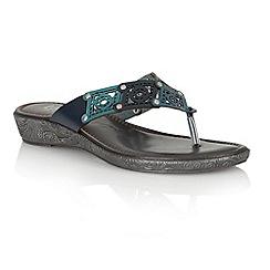 Lotus - Blue multi 'Scorch' toe post sandals
