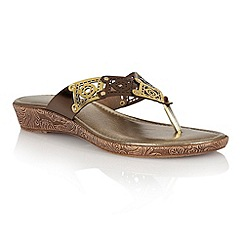 Lotus - Gold multi 'Scorch' toe post sandals