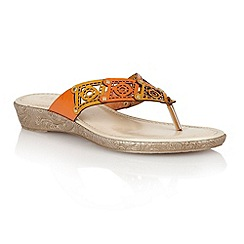 Lotus - Orange multi 'Scorch' toe post sandals