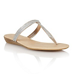 Lotus - Rose gold diamante 'Rhodes' toe post sandals
