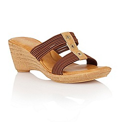 Lotus - Brown elastic 'Verona' wedge sandals