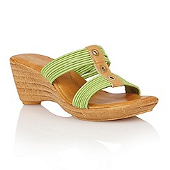 Lotus - Lime elastic 'Verona' wedge sandals