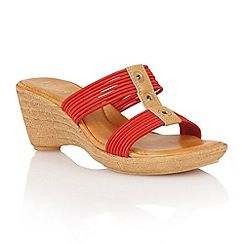 Lotus - Red elastic 'Verona' wedge sandals