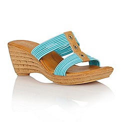 Lotus - Turquoise elastic 'Verona' wedge sandals