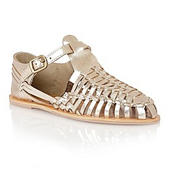 Lotus - Metallic gold leather 'Newquay' sandals