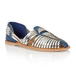 Lotus - Blue metallic silver leather 'Mevagissey' sandals