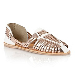 Lotus - White rose gold leather 'Mevagissey' sandals