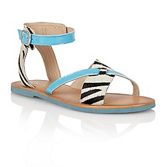 Lotus - Turquoise zebra 'Goran' open toe sandals