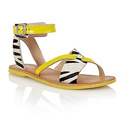 Lotus - Yellow zebra 'Goran' open toe sandals