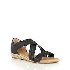 Lotus - Black leather 'Arielle' strappy sandals
