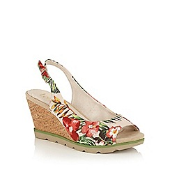 Lotus - Beige floral 'Nora' peep toe wedge sandals