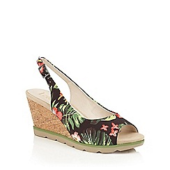 Lotus - Black floral 'Nora' peep toe wedge sandals
