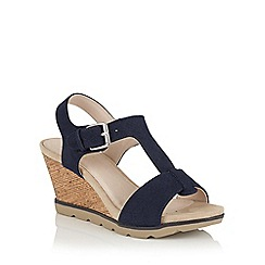 Lotus - Navy snake print 'Shaliene' wedge sandals