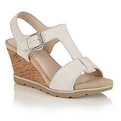 Lotus - Off white snake print 'Shaliene' wedge sandals