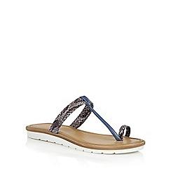 Lotus - Blue snake 'Leighton' toe post sandals