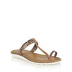 Lotus - Tan snake 'Leighton' toe post sandals