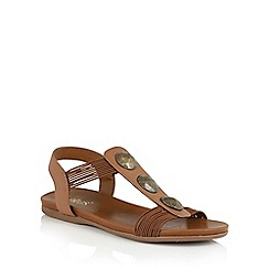 Lotus - Tan elastic 'Dora' open toe sandals