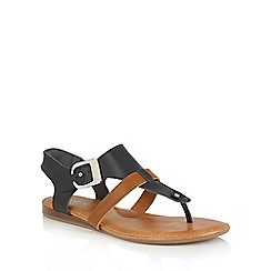 Lotus - Navy multi 'Arvon' toe post sandals