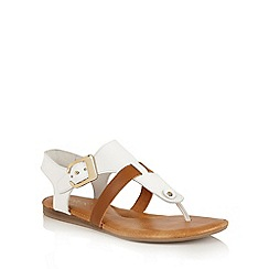 Lotus - White multi 'Arvon' toe post sandals