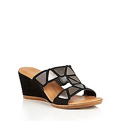Lotus - Black suede 'Briony' wedge sandals