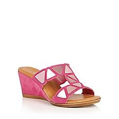 Lotus - Fuchsia suede 'Briony' wedge sandals