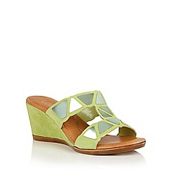 Lotus - Lime suede 'Briony' wedge sandals