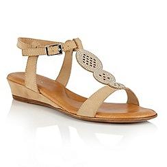 Lotus - Beige microfibre 'Charlette' wedge sandals