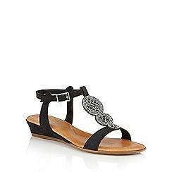 Lotus - Black microfibre 'Charlette' wedge sandals
