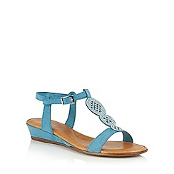 Lotus - Blue microfibre 'Charlette' wedge sandals