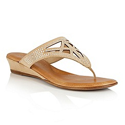 Lotus - Beige microfibre 'Delia' toe post sandals