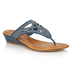 Lotus - Blue microfibre 'Delia' toe post sandals