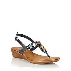 Lotus - Navy jewels 'Mirth' toe post sandals