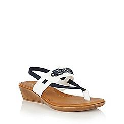 Lotus - White navy black 'Indigo' toe post sandals