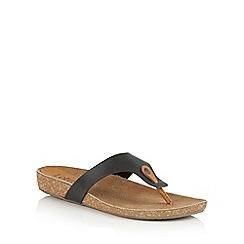 Lotus - Black tan leather 'Rafaella' toe post sandals